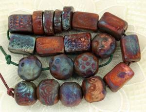 Ceramic bead artists duane collins raku focal and twirl beads aloadofball