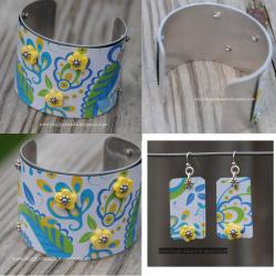 Recycled Brighton Tin Cuff Bracelet and
